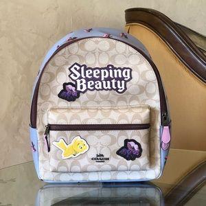 NWT coach sleeping beauty Disney Charlie backpack